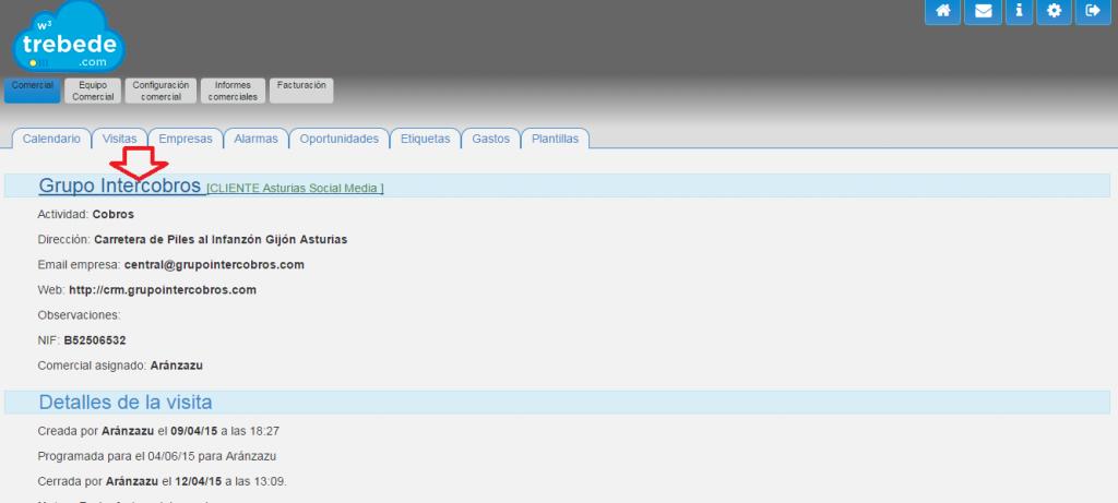 CRM online programa de gestión comercial de Trebede.com: modificar ficha de empresa cliente