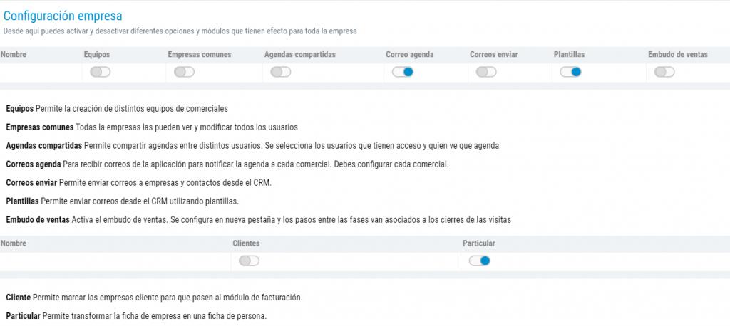 Permiso CRM Facil configuracion Empresa