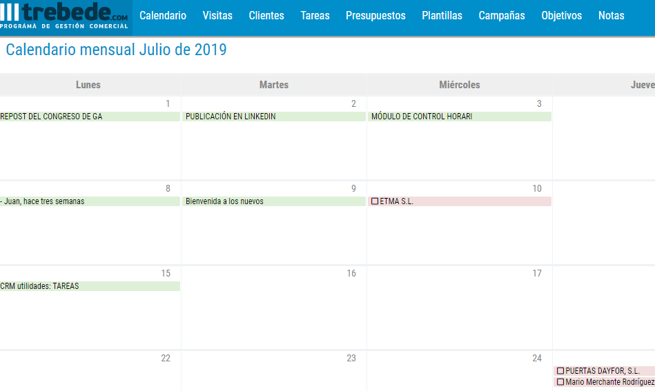 calendario crm facil para empresas marketing